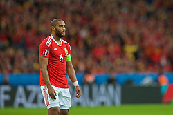 LILLE, FRANCE - Friday, July 1, 2016: Wales' Ashley Williams in action against Belgium during the UEFA Euro 2016 Championship Quarter-Final match at the Stade Pierre Mauroy. (Pic by Paul Greenwood/Propaganda)
