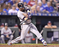 September 8, 2017 - Kansas City, MO, USA - The Minnesota Twins' Brian Dozier connects on an RBI single in the second inning against the Kansas City Royals at Kauffman Stadium in Kansas City, Mo., on Friday, Sept. 8, 2017. (Credit Image: © John Sleezer/TNS via ZUMA Wire)