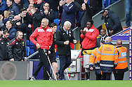 Alan Pardew, the Crystal Palace manager shows his delight as he celebrates in the dugout after Jason Puncheon of Crystal Palace scores his sides 1st goal to make it 1-0.Barclays Premier League match, Crystal Palace v Norwich city at Selhurst Park in London on Saturday 9th April 2016. pic by John Patrick Fletcher, Andrew Orchard sports photography.