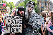 School children on school strike marching in protest against the governments lack of action on climate change, May 24th 2019, Central London, United Kingdom. The protest is part of a global protest inspired by the Swedish climate activist Greta Thundberg who went on strike for the climate. The protest was energetic and peaceful.