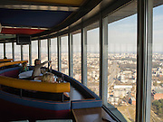 Tourists enjoy the view from the restaurant atop the Vilnius TV Tower.
