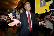 Libertarian Party presidential nominee Gary Johnson speaks to reporters after giving his acceptance speech during the Libertarian Party National Convention in Orlando, Fla., Sunday, May 29, 2016. (Phelan M. Ebenhack via AP)