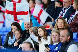 England fans wave flags before the match - Mandatory by-line: Matt McNulty/JMP - 19/09/2017 - FOOTBALL - Prenton Park - Birkenhead, United Kingdom - England v Russia - FIFA Women's World Cup Qualifier