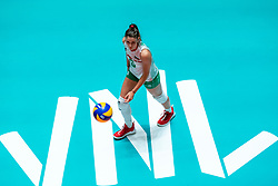 29-05-2019 NED: Volleyball Nations League Netherlands - Bulgaria, Apeldoorn<br /> Miroslava Paskova #6 of Bulgaria, VNL floorsticker