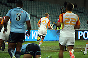 Gareth Anscombe goes over to score a try. Waratahs v Chiefs. 2013 Investec Super Rugby Season. Allianz Stadium, Sydney. Friday 19 April 2013. Photo: Clay Cross / photosport.co.nz