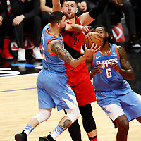 18 March 2018: LA Clippers guard Austin Rivers (25) goes for the layup again st Portland Trail Blazers center Jusuf Nurkic (27) during the Portland Trail Blazers 122109 victory over the LA Clippers, at the Staples Center, Los Angeles, California, USA.