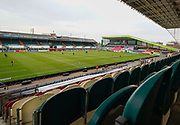 General view of the The Mattioli Woods Welford Road Stadium before a Gallagher Premiership Round 10 Rugby Union match, Friday, Feb. 20, 2021, in Leicester, United Kingdom. (Steve Flynn/Image of Sport)