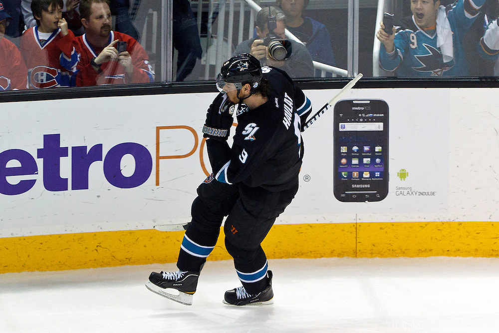 Dec 1, 2011; San Jose, CA, USA; San Jose Sharks right wing Martin Havlat (9) celebrates after scoring a goal against the Montreal Canadiens during shootouts at HP Pavilion.  San Jose defeated Montreal 4-3 in shootouts. Mandatory Credit: Jason O. Watson-US PRESSWIRE