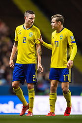 March 23, 2019 - Stockholm, SWEDEN - 190323 Mikael Lustig gets substituted and talks to Viktor Claesson of Sweden  during the UEFA Euro Qualifier football match between Sweden and Romania on March 23, 2019 in Stockholm..Photo: Joel Marklund / BILDBYRÃ…N / kod JM / 87914 (Credit Image: © Joel Marklund/Bildbyran via ZUMA Press)