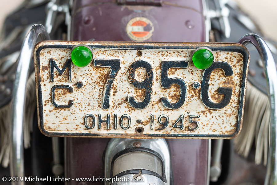 Shane Masters' Class III 1948 Indian Chief in the Cross Country Chase motorcycle endurance run from Sault Sainte Marie, MI to Key West, FL (for vintage bikes from 1930-1948). Stage 2 from Ludington, MI to Milwaukee, WI, USA. Saturday, September 7, 2019. Photography ©2019 Michael Lichter.