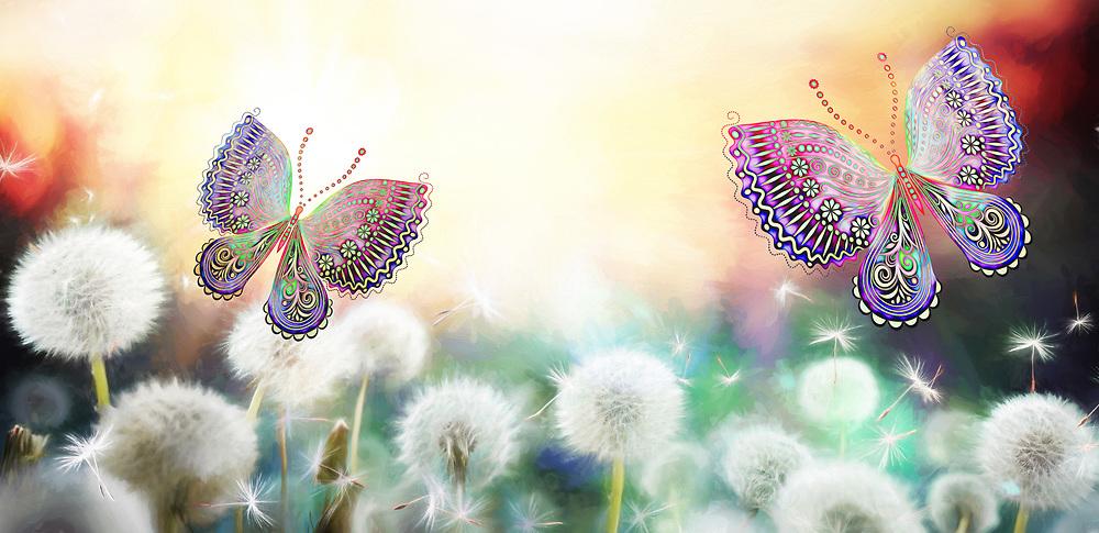 Visions of butterflies in a field of blowing dandelions