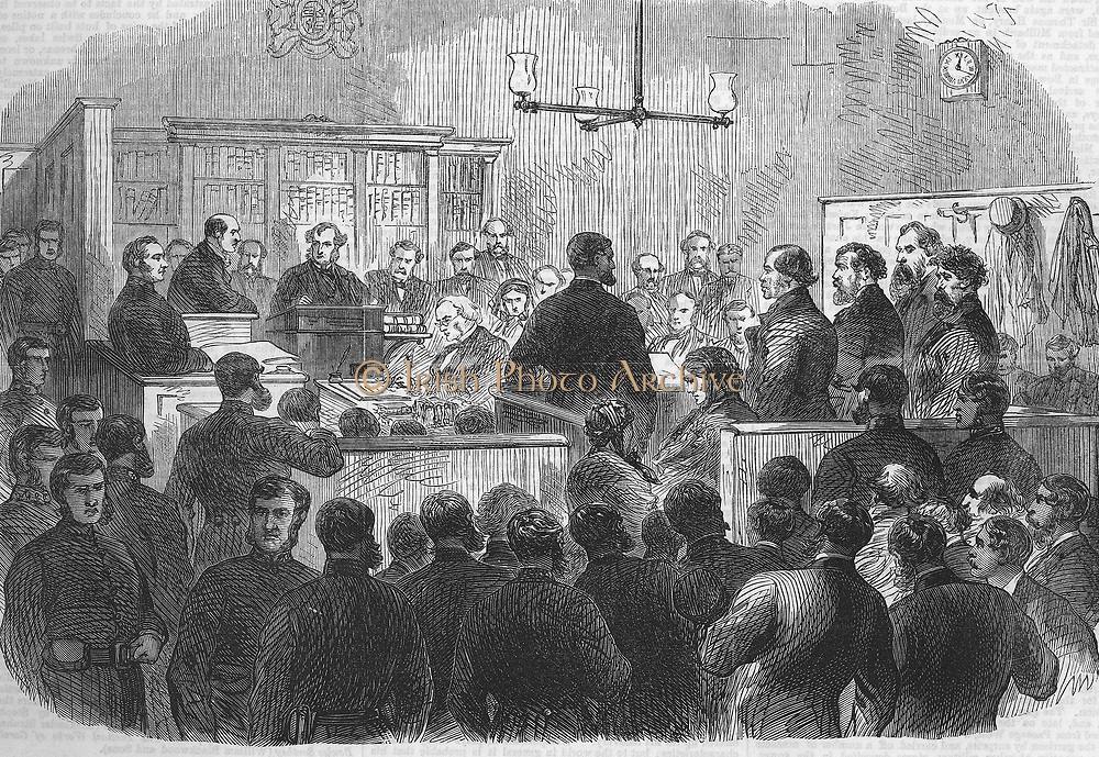 Five Fenian prisoners accused of murder,  in the dock of Bow Street Police Court on 30 December. They blew down a wall of the Clerkenwell House of Detention, London, on 13 December 1867.  From 'The Illustrated London News', 4 January 1868.