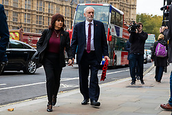 © Licensed to London News Pictures. 06/11/2018. London, UK. Leader of the Labour Party Jeremy Corbyn and his wife  Laura Alvarez arrive at St Margaret's Church in Westminster for the Parliamentary Armistice Service. Photo credit: Rob Pinney/LNP