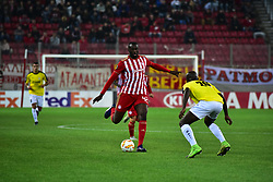 November 8, 2018 - Athens, Attiki, Greece - Yaya Toure (no 42) of Olympiacos, tries to pass the ball under the pressure of Jerry Prempeh (no 26) of F91 Dudelange..Olympiacos has won F91 Dudelange 5-1 for the UEFA Europa League. (Credit Image: © Dimitrios Karvountzis/Pacific Press via ZUMA Wire)