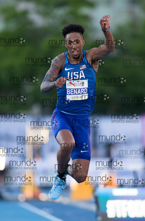 Toronto, ON -- 10 August 2018: Chris Benard (USA), triple jump at the 2018 North America, Central America, and Caribbean Athletics Association (NACAC) Track and Field Championships held at Varsity Stadium, Toronto, Canada. (Photo by Sean Burges / Mundo Sport Images).