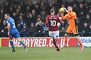AFC Wimbledon goalkeeper George Long (1) saving from Northampton Town forward Kevin van Veen (10) during the EFL Sky Bet League 1 match between AFC Wimbledon and Northampton Town at the Cherry Red Records Stadium, Kingston, England on 10 February 2018. Picture by Matthew Redman.