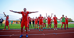 NEWPORT, WALES - Tuesday, June 12, 2018: Wales' Natasha Harding leads her side in celebration after beating Russia 3-0 during the FIFA Women's World Cup 2019 Qualifying Round Group 1 match between Wales and Russia at Newport Stadium. (Pic by David Rawcliffe/Propaganda)