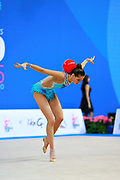 Harutyunyan Lilit during qualifying at ball in Pesaro World Cup 1 April 2016. Lilit is an Armenian rhythmic gymnastics athlete born May 5, 1995 in Erevan, Armenia