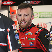 Austin Dillon, driver of the (3) Dow Chevrolet, is seen in the garage area during practice for the 60th Annual NASCAR Daytona 500 auto race at Daytona International Speedway on Friday, February 16, 2018 in Daytona Beach, Florida.  (Alex Menendez via AP)