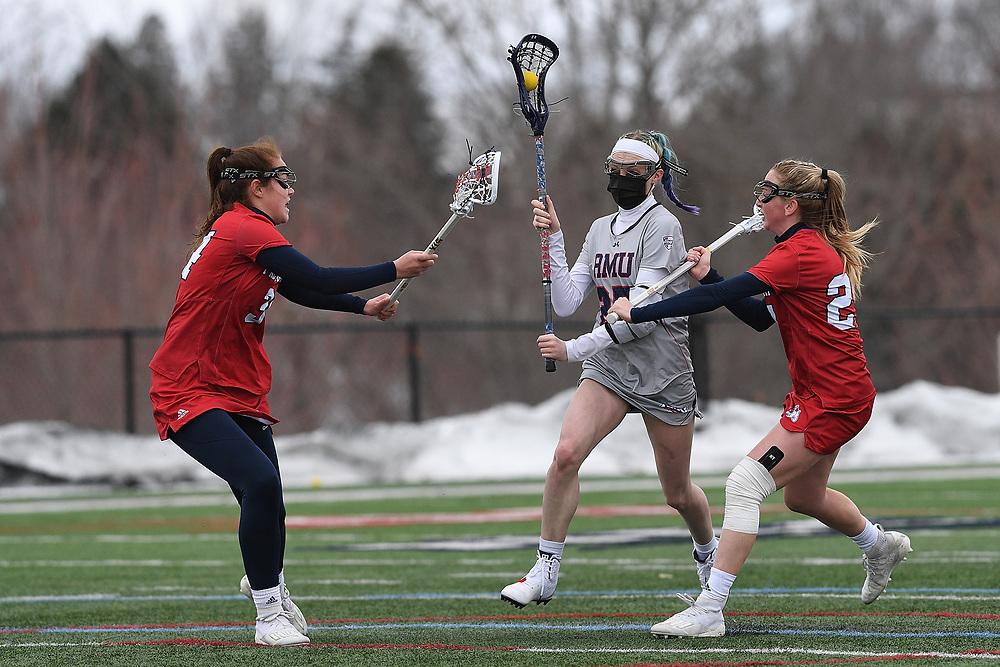 Robert Morris Women's Lacrosse vs. Fresno State at Joe Walton Stadium on February 23, 2021 in Moon Township, Pennsylvania. (Photo by Justin Berl/RMU Athletics)