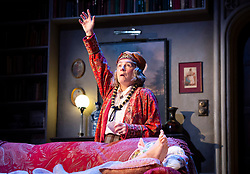 Blithe Spirit <br /> <br /> Noël Coward's classic comedy <br /> Blithe Spirit at The Duke of York's Theatre, London, Great Britain <br /> 6th March 2020 <br /> Press photocall <br /> directed by Sir Richard Eyre<br /> <br /> Opens on 10th March 2020 to 11th April 2020 <br /> <br /> Jennifer Saunders as Madame Arcati <br /> <br /> Photograph by Elliott Franks