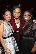 New York, NY-October 5: (L-R) Gabrielle Glore, Executive Producer, The Urban World Film Festival, Director Ava DuVernay, Moikgantsi Kgama, Executive Producer & Founder, ImageNation Cinema Foundation attend the ColorOfChange.org's 10th Anniversary Gala held at Gotham Hall on October 5, 2015 in New York City.  Terrence Jennings/terrencejennings.com