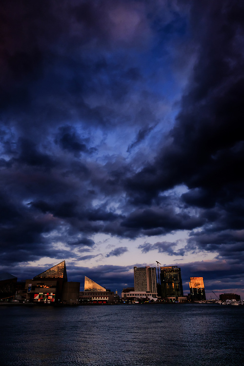 Brooding clouds over the inner harbor in Baltimore, Maryland