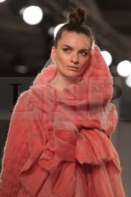© Licensed to London News Pictures. 02/06/2014. London, England. Graduate Fashion Week 2014, Collection by Jasmine Sellers, Kingston University. Runway Show at the Old Truman Brewery in London, United Kingdom. Photo credit: Bettina Strenske/LNP