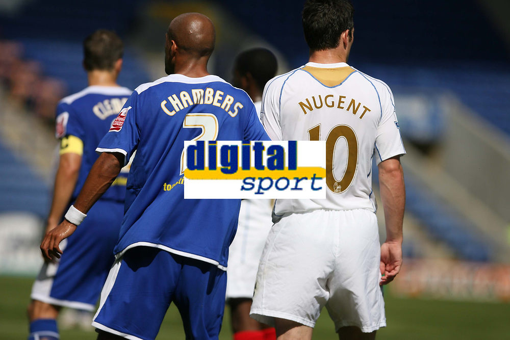 Photo: Pete Lorence.<br />Leicester City v Portsmouth. Pre Season Friendly. 04/08/2007.<br />James Chambers and David Nugent during the match.