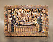 Gothic Catalan marble relief sculpture from the tomb of Margarida Cadell, died 1308, from the convent of Sant Domenee de Puigcerda, Cerdanya, Spain.  National Museum of Catalan Art, Barcelona, Spain, inv no: MNAC  4366. .<br /> <br /> If you prefer you can also buy from our ALAMY PHOTO LIBRARY  Collection visit : https://www.alamy.com/portfolio/paul-williams-funkystock/gothic-art-antiquities.html  Type -     MANAC    - into the LOWER SEARCH WITHIN GALLERY box. Refine search by adding background colour, place, museum etc<br /> <br /> Visit our MEDIEVAL GOTHIC ART PHOTO COLLECTIONS for more   photos  to download or buy as prints https://funkystock.photoshelter.com/gallery-collection/Medieval-Gothic-Art-Antiquities-Historic-Sites-Pictures-Images-of/C0000gZ8POl_DCqE