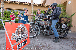 Jon Dobbs of Wisconsin riding his 1915 Harley-Davidson as he arrives at the finish line in Palm Desert during the Motorcycle Cannonball Race of the Century. Stage-14 ride from Lake Havasu CIty, AZ to Palm Desert, CA. USA. Saturday September 24, 2016. Photography ©2016 Michael Lichter.