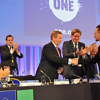 Bono shakes hands with An Taoiseach after addressing the EPP Congress in the Dublin Conference Centre on Friday.<br /> Picture by Sally MacMonagle<br /> <br /> <br /> Photo from EPP congress repro free