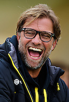 LA MANGA, SPAIN - JANUARY 11:  Head coach Juergen Klopp of Borussia Dortmund smiles prior to the friendly match between Borussia Dortmund and Standard de Liege at XXX on January 11, 2014 in La Manga, Spain.  (Photo by Manuel Queimadelos Alonso/Getty Images)