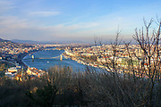 Eastern Europe, Hungary, Budapest, The Danube River The Chain Bridge as seen from the Cittadella