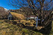 Historic Hofskirkja sod church in south Iceland