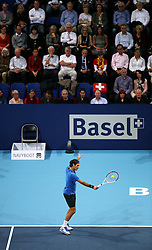 27.10.2012, St. Jakobshalle, Basel, SUI, ATP, Swiss Indoors, im Bild Roger Federer (SUI) // during ATP Swiss Indoors Tournament at the St. Jakobshall, Basel, Switzerland on 2012/10/27. EXPA Pictures © 2012, PhotoCredit: EXPA/ Freshfocus/ Daniela Frutiger..***** ATTENTION - for AUT, SLO, CRO, SRB, BIH only *****