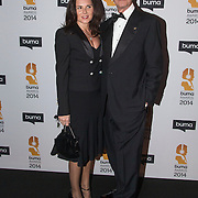 NLD/Hilversum//20140318 - Inloop Buma Awards 2014, Tony Berk en partner ......