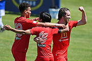 Canterbury United players Lyle Mathysen, Yuya Taguchi, and Garbhan Coughlan celebrate a goal in the Handa Premiership football match, Hawke's Bay United v Canterbury United, Bluewater Stadium, Napier, Sunday, December 06, 2020. Copyright photo: Kerry Marshall / www.photosport.nz