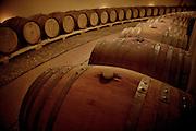 Wine barrells in a cellar in Italy.