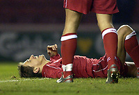 Photo. Jed Wee<br />Middlesbrough v Bradford Reserves, The Riverside, Middlesbrough. 25/02/2003.<br />Middlesbrough's Juninho cannot believe his luck after scrambling the ball home on his return to the Riverside.