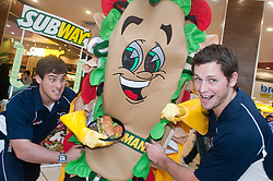Subway Healthier Way Subs. Doncaster Knights Tristan Roberts left and Steve Bowden right tacckle Subman for his Healthier Way Sub and Salad Bowl.at Subway in the Frenchgate shopping Centre Doncaster..28 October 2010 .Images © Paul David Drabble