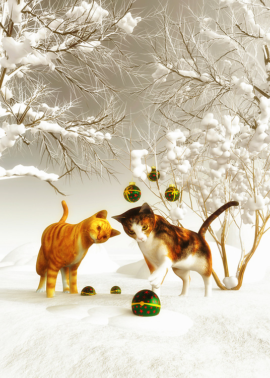 This charming scene of winter is certain to appeal to those who love Christmas. When we think about Christmas, we imagine scenes such as this one. A lovely Christmas ornament hangs from a tree. Two kittens stand before the ornament, fascinated by what they are looking at it. One of those kittens certainly seems as though it is going to reach out to slap that ornament! Perhaps someone has hung these ornaments from the tree. Available as cards, or as a variety of different home interior décor products. BUY THIS PRINT AT<br /> <br /> FINE ART AMERICA<br /> ENGLISH<br /> https://janke.pixels.com/featured/kittens-at-christmas-jan-keteleer.html