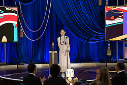 Chloé Zhao accepts the Oscar® for Directing during the live ABC Telecast of The 93rd Oscars® at Union Station in Los Angeles, CA, USA on Sunday, April 25, 2021. Photo by Todd Wawrychuk/A.M.P.A.S. via ABACAPRESS.COM