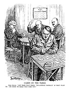 """CARDS ON THE TABLE. Herr Hitler. """"Let them play their 'Tri-Lateral Contract' if they want to; I'm going to make THIS come out."""" (Hitler plays his own card game of 'Impatience' with 'Treats Revision, Colonies, Air Force, Equality, Ludendorff and Conscription' on the table while holding 'Navy' and 'Swastika' cards in his hands; 'The Rules of Three-Handed Stresa' on the wall behind him)"""
