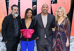 Jeffrey Dean Morgan, Naomie Harris, Dwayne The Rock Johnson and Malin Akerman attending the European premiere of Rampage, held at the Cineworld in Leicester Square, London. Photo credit should read: Doug Peters/EMPICS Entertainment