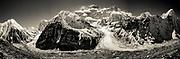 Kangchenjunga, 3rd highest peak in the world, North face, panorama from Pangpema, Nepal.