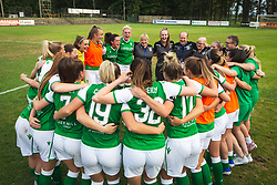 Players of Hibernina rejoicing after qualifiying to UWCL after football match between ZNK Pomurje and FC Hibernian in 3nd Round of UWCL qualifying 2019/20, on Avgust 13, 2019 in Sportni Park Beltinci, Beltinci, Slovenia. Photo by Blaž Weindorfer / Sportida
