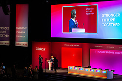 © Licensed to London News Pictures. 24/09/2021. Brighton, UK. Labour Party Leader SIR KEIR STARMER is seen screen testing ties on the stage of the auditorium of the Brighton Centre this evening (Friday 24th September 2021) ahead of the start of the Labour Party Conference . Photo credit: Joel Goodman/LNP