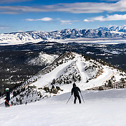 The view from the top of Chair 5 at Mammoth Mountain provides a grand view of the White Mountains.