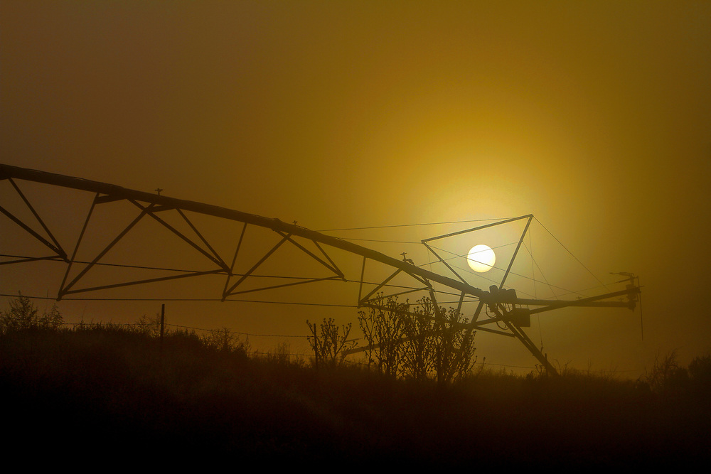 Sun burns through morning fog with a center pivot sprinkler system presenting its silhouette in a yellow glow of lighting